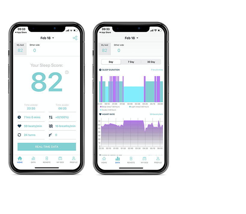 two cellphones showing data of sleep assist app